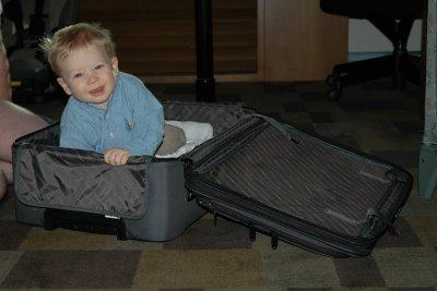 Nicholas in suitcase