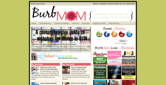 Burb Mom Website for moms in DFW