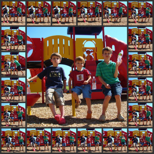 25 photo collage of three boys