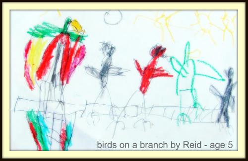 Birds on a branch by Reid age 5