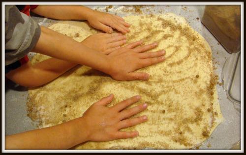 Cinnamon rolls - kids help out