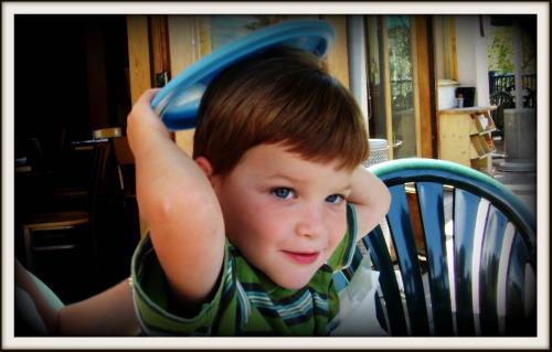 Rhett with frisbee on head