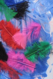 Preschoolers Painting with Feathers Activity