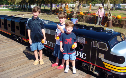 Pumpkin Express boys in front of train