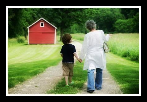 grandma and grandson walking and talking