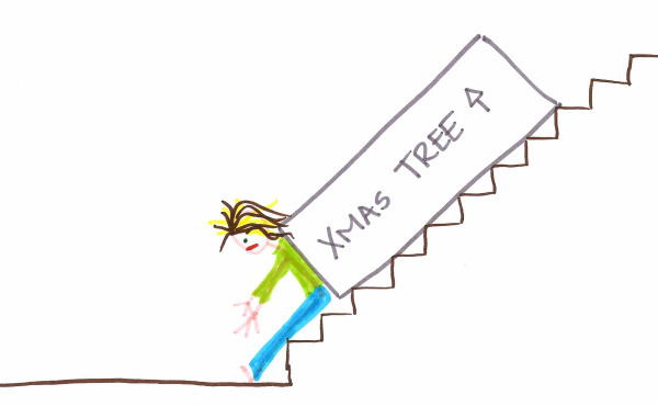 Holly gets the Christmas tree box down the stairs