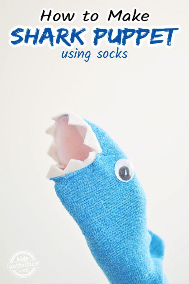 A cute shark puppet using socks is shown - How to make a shark sock puppet - Kids Activities Blog