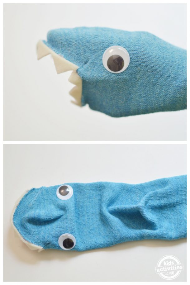 Wear the sock into te hands and glue one of the eyes and take it out and place the other eyes to finish the shark puppet