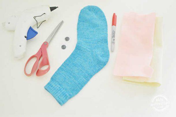 supplies for making shark sock puppet