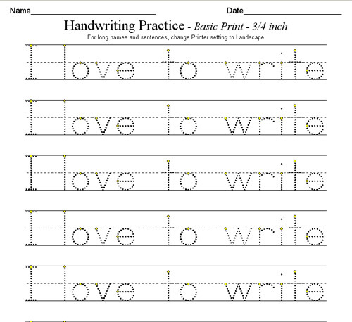 writing pages for kids