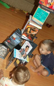 building with DVDs
