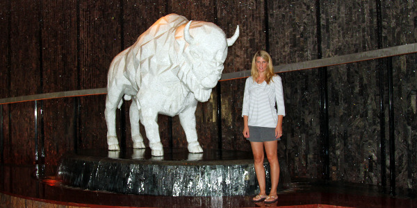 Choctaw casino buffalo statue and holly homer