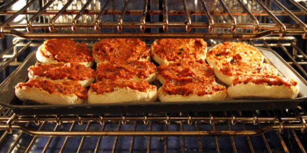 pizza buns in oven