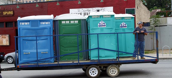 austin texas porta-potty truck on 6th street