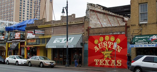 Austin Texas sign on 6th street