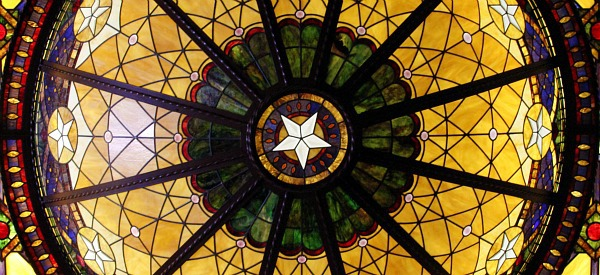 stained glass in austin texas hotel on 6th street