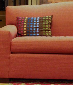 orange couch sofa