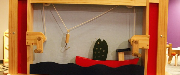 Coordination Station fishing challenge in wooden shapes