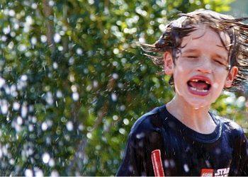 boy struggles in water