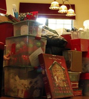 Christmas Decor stored in Holly's attic