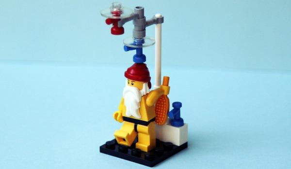 Lego Santa takes a shower
