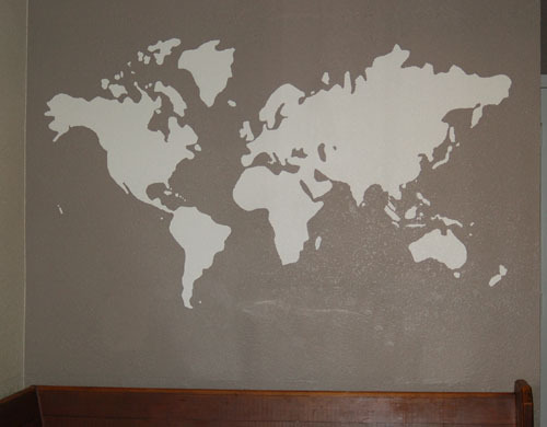 World map outline mural gallery diagram writing sample and guide diy world map mural to make the mural i printed off a picture of the world sciox Image collections