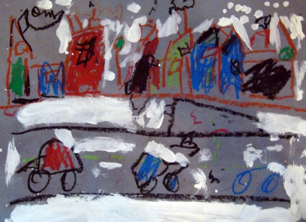 childrens art snow scene