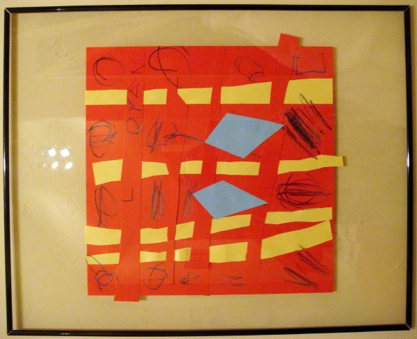 childrens art framed weave construction paper