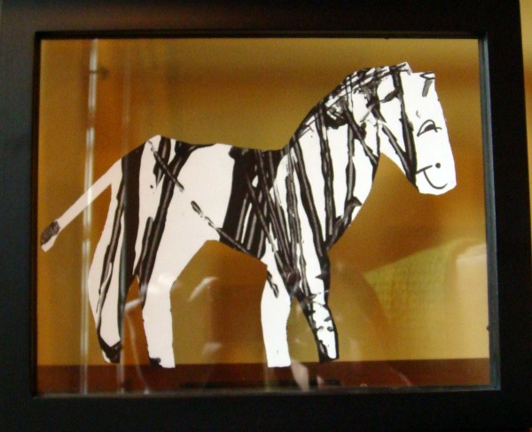 framed zebra - childrens art