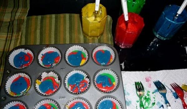 multi-colored cake batter