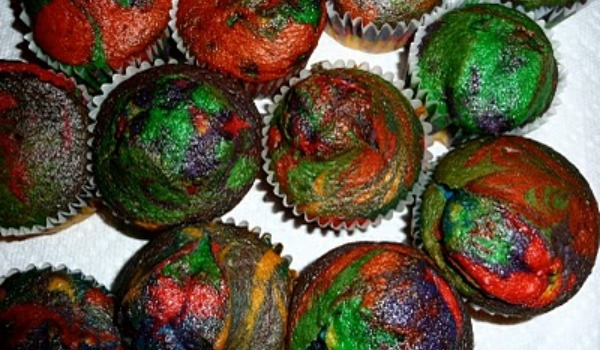 multi-colored cupcakes