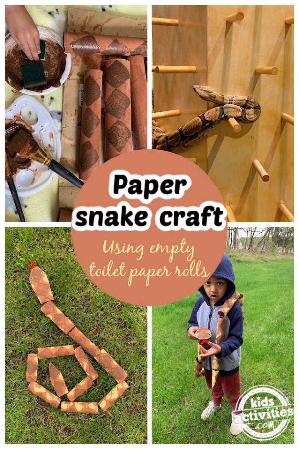 Collage de serpent en papier, instructions étape par étape, image de serpent réel et enfant en bas âge portant un serpent en papier