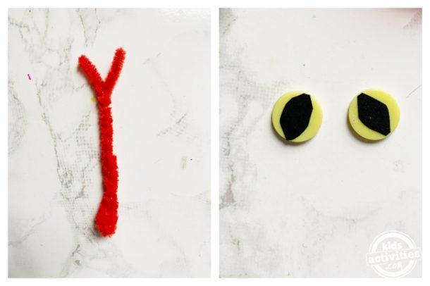 Fabriquez une langue de serpent et des yeux de serpent à l'aide d'un cure-pipe et de boutons jaunes pour fabriquer des serpents en papier