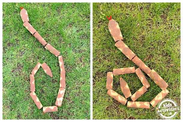 artisanat de serpent utilisant un tube de rouleau de papier toilette