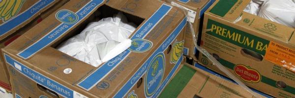banana boxes at the food bank