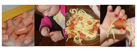 spaghetti and hotdogs, hairy hotdogs.