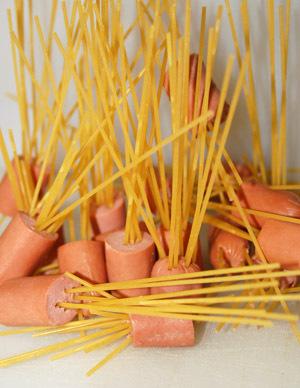 preschool silly food spaghetti and hotdogs.