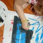 preschooler painting tape