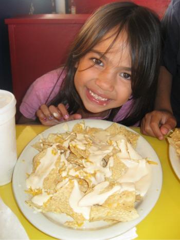 plate of cheesy nachos