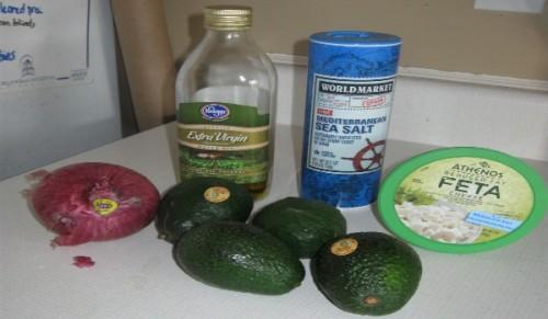 avocados sea salt olive oil and feta cheese