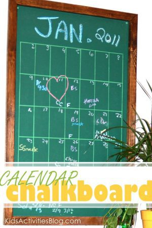 DIY calendar - made from a chalk board.