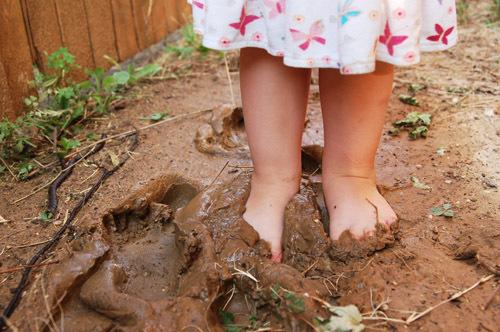 muddy kids feet