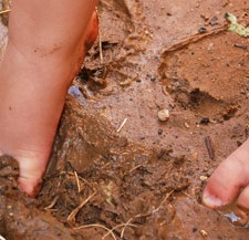 muddy kids feet