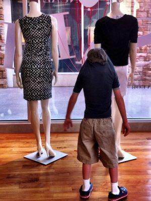 Reid as a mannequin at Ann Taylor