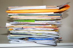 unorganized stacked bills