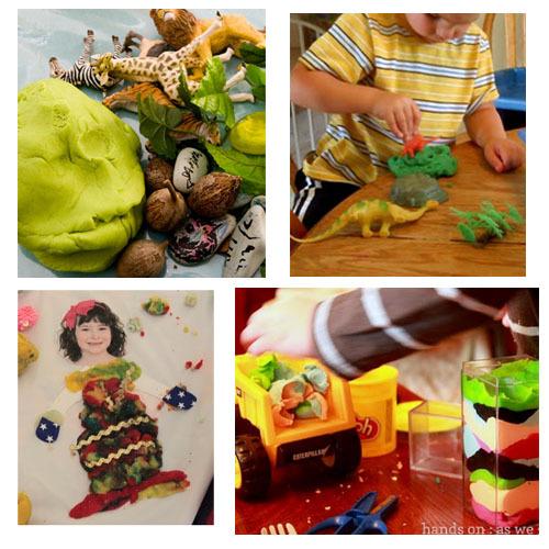 Preschoolers Play with Playdough