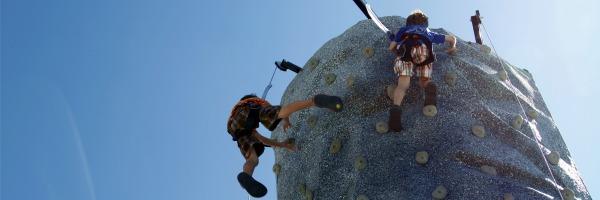 boys on climbing wall