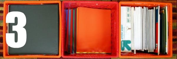 homeschool room closet crates with supplies 3