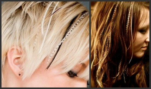 blonde and brunette with feathers
