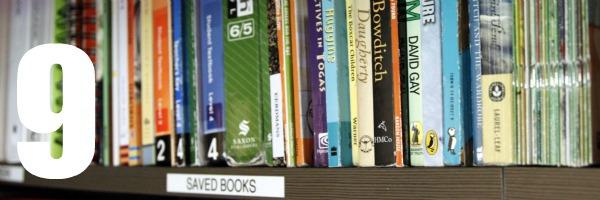 homeschool room closet shelf of old books 9